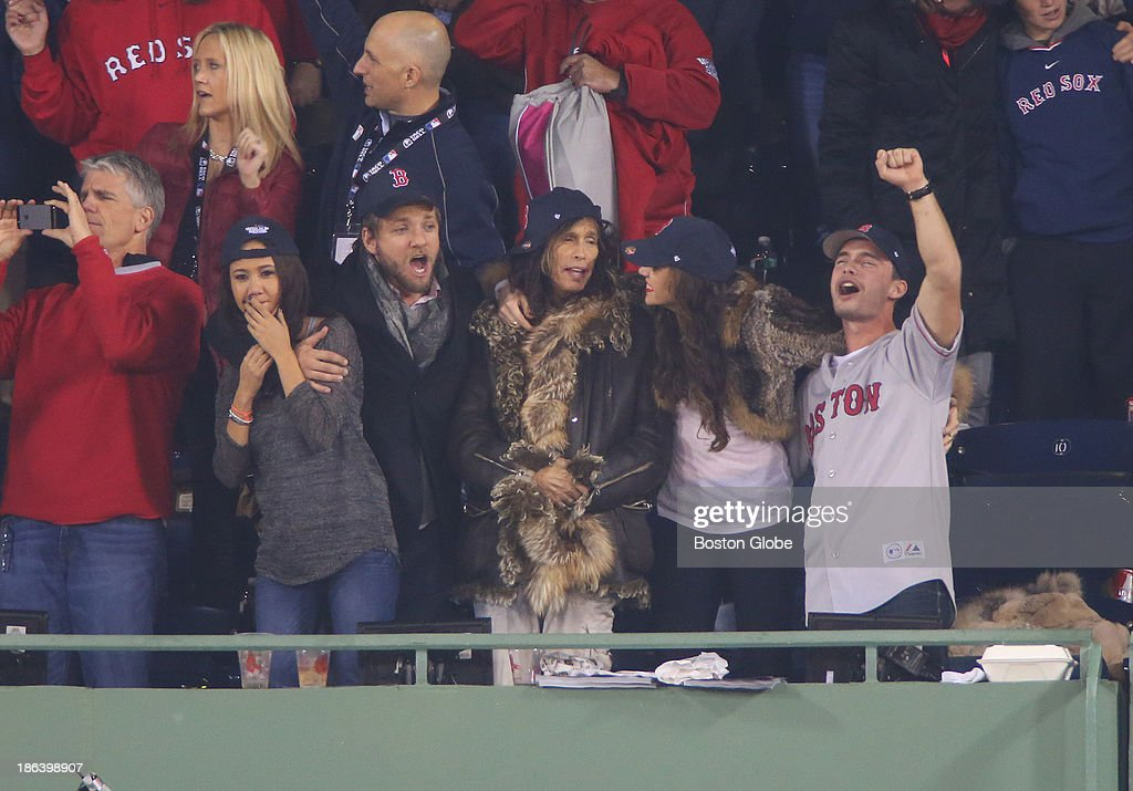 Steven Tyler in the stands in the eighth inning. The Boston Red Sox host the St. Louis Cardinals at Fenway Park for Game Six of the 2013 Major League Baseball World Series, Oct. 30, 2013.