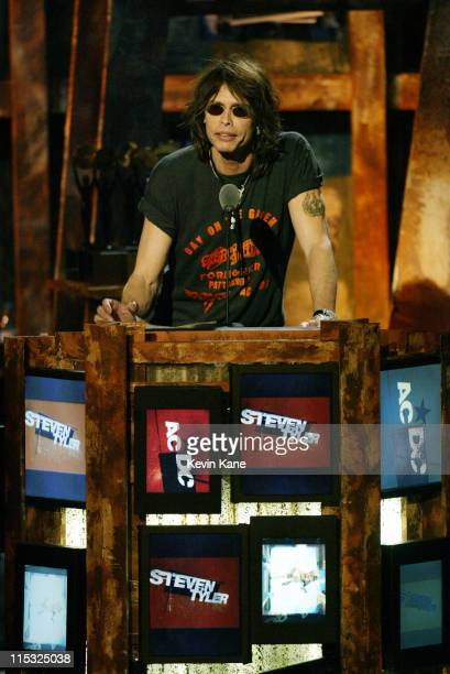 Steven Tyler introduces AC/DC during The 18th Annual Rock and Roll Hall of Fame Induction Ceremony Show at The Waldorf Astoria in New York City New...