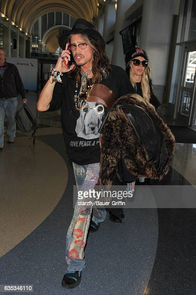 Steven Tyler is seen at LAX on February 14 2017 in Los Angeles California