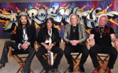 Steven Tyler Joe Perry Tom Hamilton and Joey Kramer attend Aerosmith's summer 'Let Rock Rule' tour launch at Whisky a Go Go on April 8 2014 in West...