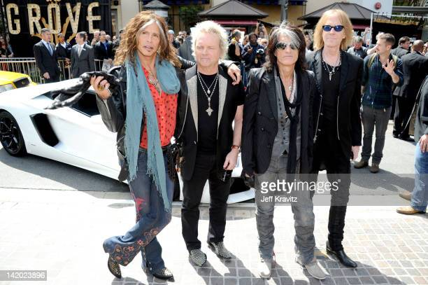 Steven Tyler Joey Kramer Joe Perry and Tom Hamilton attends Aerosmith Press Conference at The Grove on March 28 2012 in Los Angeles California