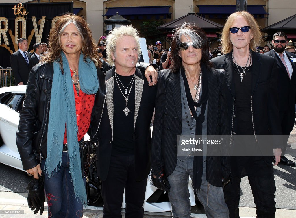 Steven Tyler Joey Kramer Joe Perry and Tom Hamilton of Aerosmith announce their 'The Global Warming' Tour at The Grove on March 28 2012 in Los...