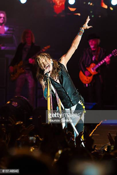 Steven Tyler member of the band Aerosmith performs live on stage at Allianz Parque on October 15 2016 in Sao Paulo Brazil