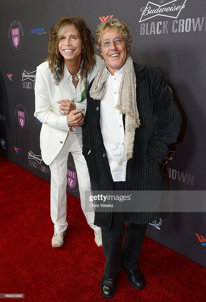 <a gi-track='captionPersonalityLinkClicked' href=/galleries/search?phrase=Steven+Tyler+-+Musician&family=editorial&specificpeople=202080 ng-click='$event.stopPropagation()'>Steven Tyler</a> of Aerosmith (L) and <a gi-track='captionPersonalityLinkClicked' href=/galleries/search?phrase=Roger+Daltrey&family=editorial&specificpeople=201896 ng-click='$event.stopPropagation()'>Roger Daltrey</a> of The Who attend the Voice Health Institute's 'Raise Your Voice' benefit at Beverly Hills Hotel on January 24, 2013 in Beverly Hills, California.