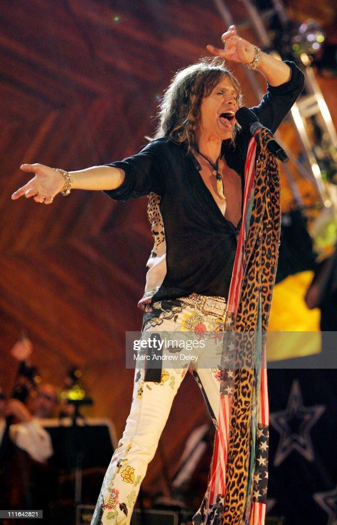 <a gi-track='captionPersonalityLinkClicked' href=/galleries/search?phrase=Steven+Tyler&family=editorial&specificpeople=202080 ng-click='$event.stopPropagation()'>Steven Tyler</a> of <a gi-track='captionPersonalityLinkClicked' href=/galleries/search?phrase=Aerosmith&family=editorial&specificpeople=640712 ng-click='$event.stopPropagation()'>Aerosmith</a> during Boston POPS Fireworks Spectular Featuring <a gi-track='captionPersonalityLinkClicked' href=/galleries/search?phrase=Steven+Tyler&family=editorial&specificpeople=202080 ng-click='$event.stopPropagation()'>Steven Tyler</a> and Joe Perry of <a gi-track='captionPersonalityLinkClicked' href=/galleries/search?phrase=Aerosmith&family=editorial&specificpeople=640712 ng-click='$event.stopPropagation()'>Aerosmith</a> - July 4, 2006 at Hatch Shell on Charles River Esplanade in Boston, Massachusetts, United States.