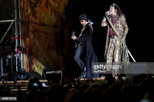 Steven Tyler of Aerosmith during his performance at Rock Fest Barcelona 2017 Festival in Santa Coloma Spain on July 02 2017