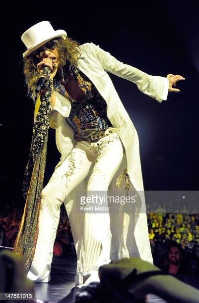Steven Tyler of Aerosmith performs at Nassau Veterans Memorial Coliseum on July 1 2012 in Uniondale New York