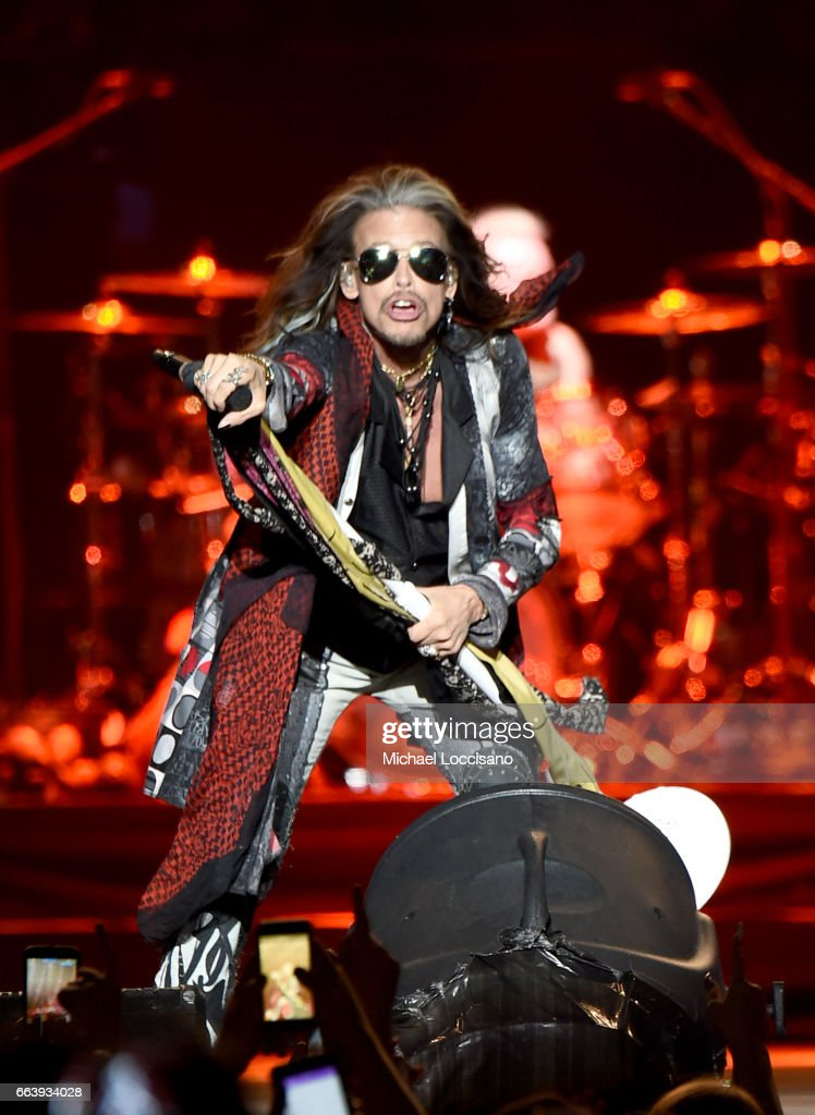 Steven Tyler of Aerosmith performs at the Capital One JamFest during the NCAA March Madness Music Festival 2017 on April 2, 2017 in Phoenix, Arizona.