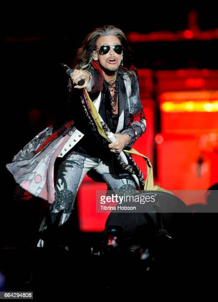 Steven Tyler of Aerosmith performs at the March Madness Music Festival on April 2 2017 in Margaret T Hance Park in Phoenix Arizona