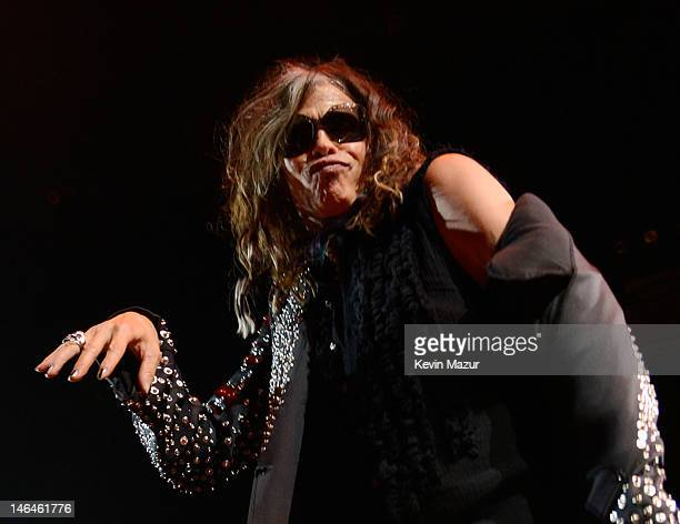 Steven Tyler of Aerosmith performs during the opening night of the 'Global Warming Tour' at the Target Center on June 16 2012 in Minneapolis Minnesota