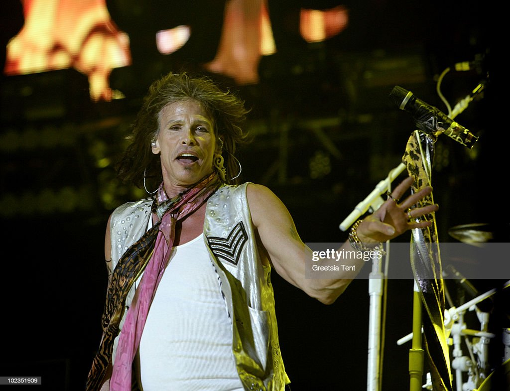 <a gi-track='captionPersonalityLinkClicked' href=/galleries/search?phrase=Steven+Tyler+-+Musician&family=editorial&specificpeople=202080 ng-click='$event.stopPropagation()'>Steven Tyler</a> of Aerosmith performs live at Gelredome on June 23, 2010 in Arnhem, Netherlands.
