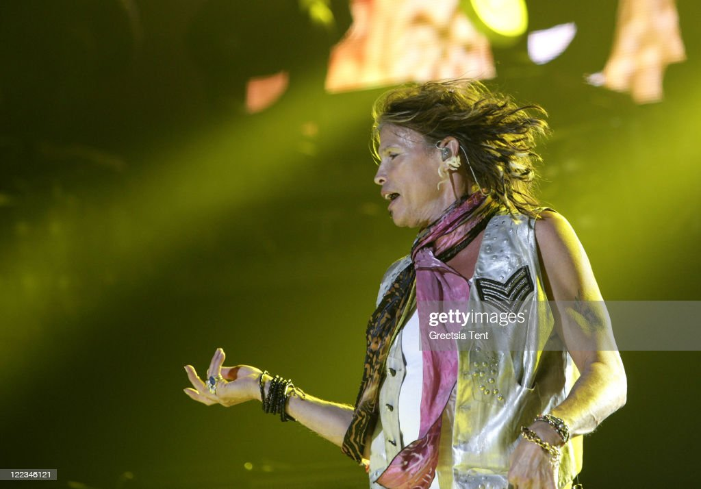 Steven Tyler of Aerosmith performs live at Gelredome on June 23 2010 in Arnhem Netherlands