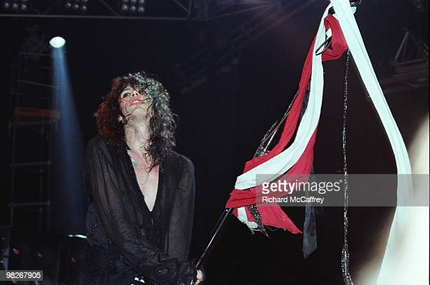 Steven Tyler of Aerosmith performs live at The Winterland Ballroom in 1975 in San Francisco California
