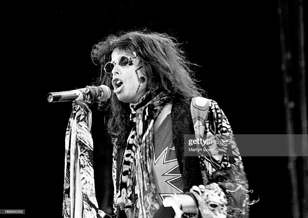 Steven Tyler of Aerosmith performs on stage at Donington Park, United Kingdom, 1994.