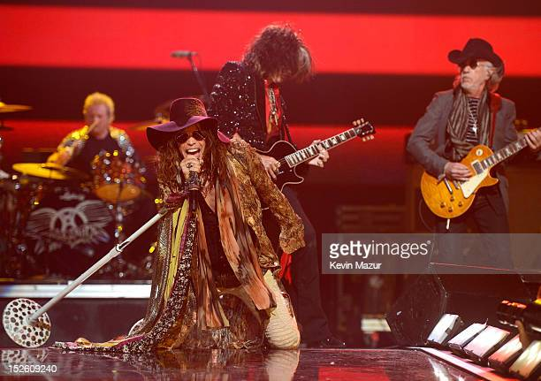 Steven Tyler of Aerosmith performs onstage during the 2012 iHeartRadio Music Festival at the MGM Grand Garden Arena on September 22 2012 in Las Vegas...