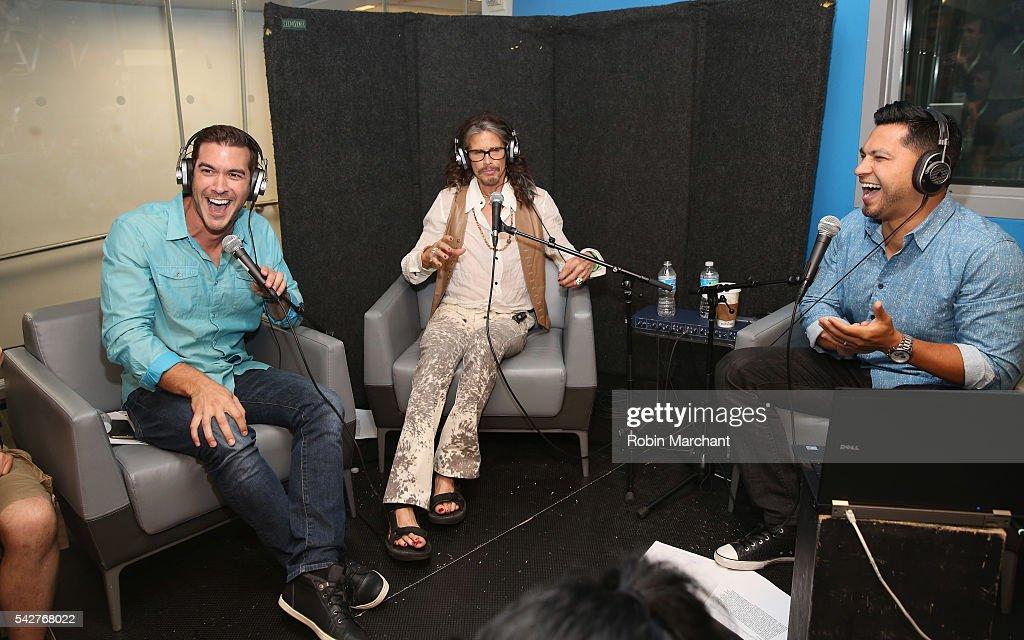 Steven Tyler (C) of Aerosmith visits SiriusXM 's 'Covino & Rich' with hosts Rich Davis and Steve Covino at SiriusXM Studio on June 24, 2016 in New York City.