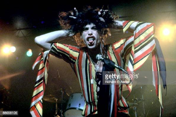 Steven Tyler of American rock band Aerosmith performs on stage at Madison Square Garden on December 3rd 1975 in New York