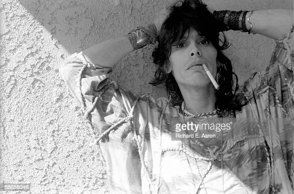 Steven Tyler of American rock band Aerosmith poses in August 1984 in Los Angeles California