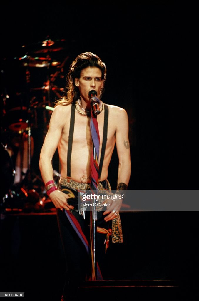 Steven Tyler of the rock band 'Aerosmith' performs onstage at the San Diego Golden Hall on August 22 1984 San Diego California