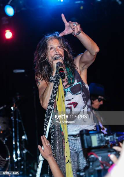 Steven Tyler performs live at the announcement of Aerosmith with Slash featuring Myles Kennedy and the Conspirators tour on April 8 2014 in Hollywood...