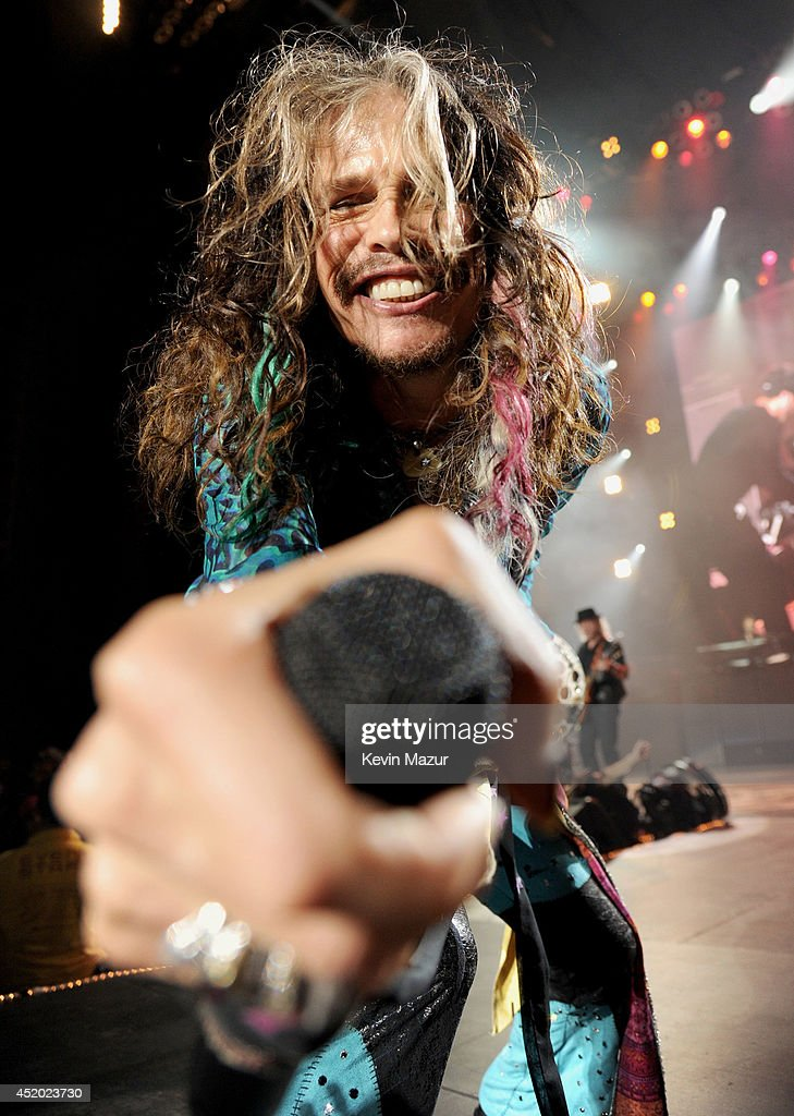 Steven Tyler performs with Aerosmith at Nikon at Jones Beach Theater on July 10, 2014 in Wantagh, New York.