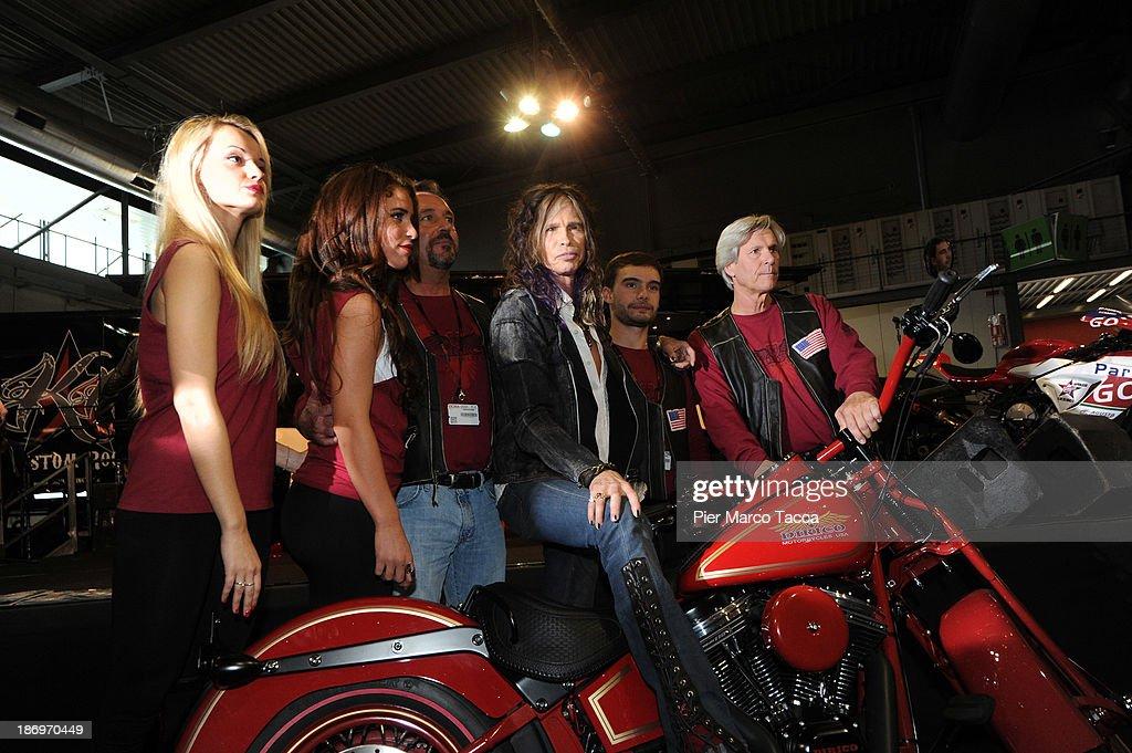 Steven Tyler singer leader of Aerosmith attends Dirico motor presentation during the EICMA 2013 71st International Motorcycle Exhibition on November 5, 2013 in Milan, Italy.