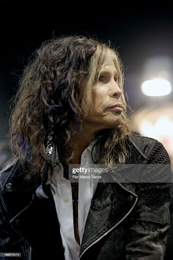 Steven Tyler singer leader of Aerosmith attends Dirico motor presentation during the EICMA 2013 71st International Motorcycle Exhibition on November 5, 2013 in Milan, Italy.