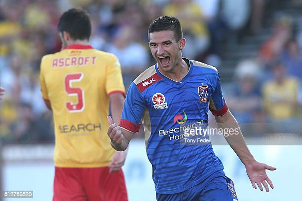 Steven Ugarkovic of the Jets celebrates a goal during the round 21 ALeague match between the Central Coast Mariners and the Newcastle Jets at Central...