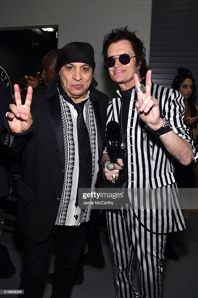 Steven Van Zandt (L) and Glenn Hughes of Deep Purple attend the 31st Annual Rock And Roll Hall Of Fame Induction Ceremony at Barclays Center of Brooklyn on April 8, 2016 in New York City.