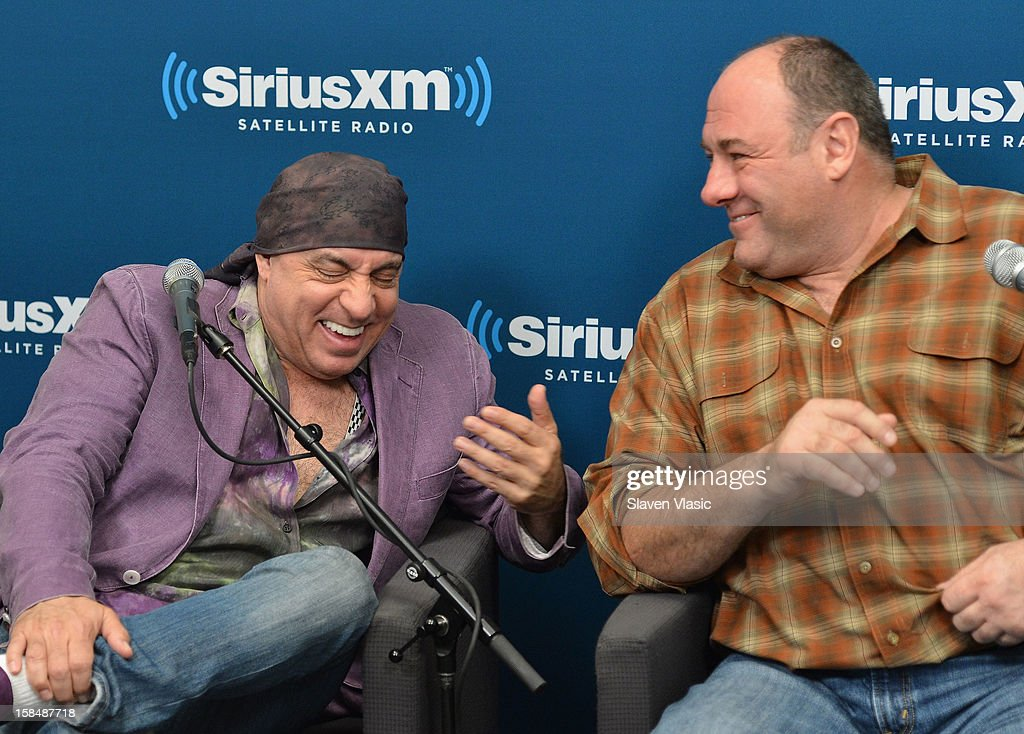 Steven Van Zandt (L) and James Gandolfini attend SiriusXM 'Not Fade Away' Town Hall with David Chase, James Gandolfini and Steven Van Zandt and host Terence Winter on December 17, 2012 in New York, United States.