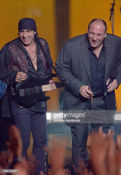 Steven Van Zandt and James Gandolfini during Bruce Springsteen and the E Street Band Perform on the 2002 MTV Video Music Awards at American Museum of...