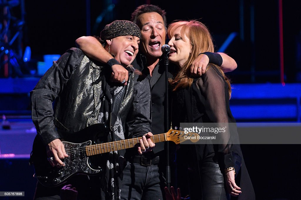 Steven Van Zandt, Bruce Springsteen and Patti Scialfa of Bruce Springsteen And The E Street Band perform during The River 2016 tour at United Center on January 19, 2016 in Chicago, Illinois.