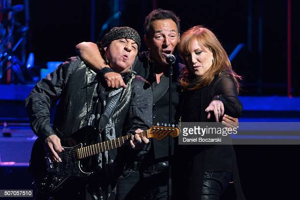 Steven Van Zandt Bruce Springsteen and Patti Scialfa of Bruce Springsteen And The E Street Band perform during The River 2016 tour at United Center...