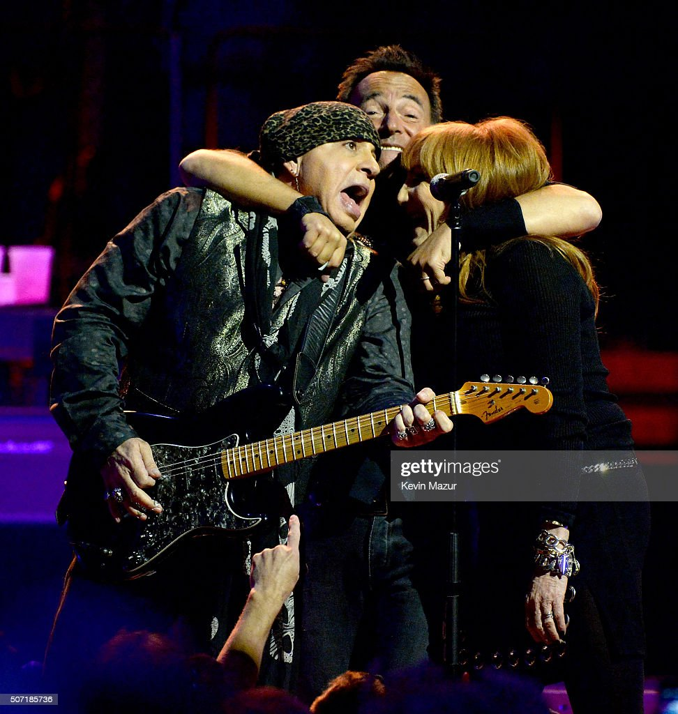 Steven Van Zandt, Bruce Springsteen and Patti Scialfa perform at Madison Square Garden on January 27, 2016 in New York City.