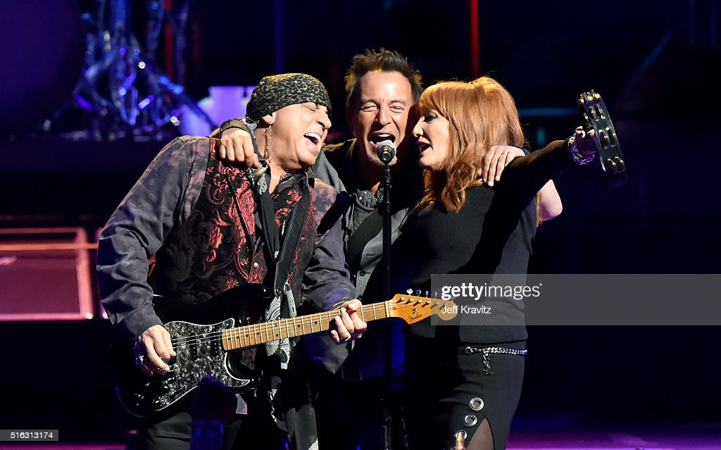Steven Van Zandt Bruce Springsteen and Patty Scialfa perform on stage at the Los Angeles Memorial Sports Arena at Exposition Park on March 17 2016 in...