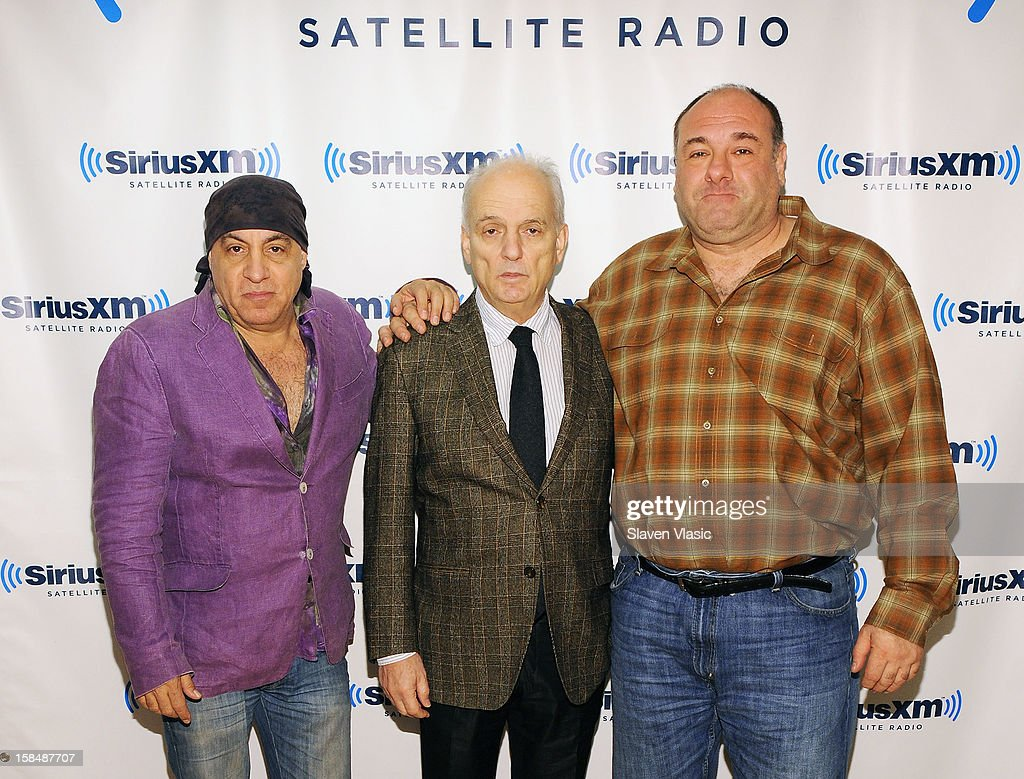 Steven Van Zandt, David Chase and James Gandolfini attend SiriusXM 'Not Fade Away' Town Hall with David Chase, James Gandolfini and Steven Van Zandt and host Terence Winter on December 17, 2012 in New York, United States.