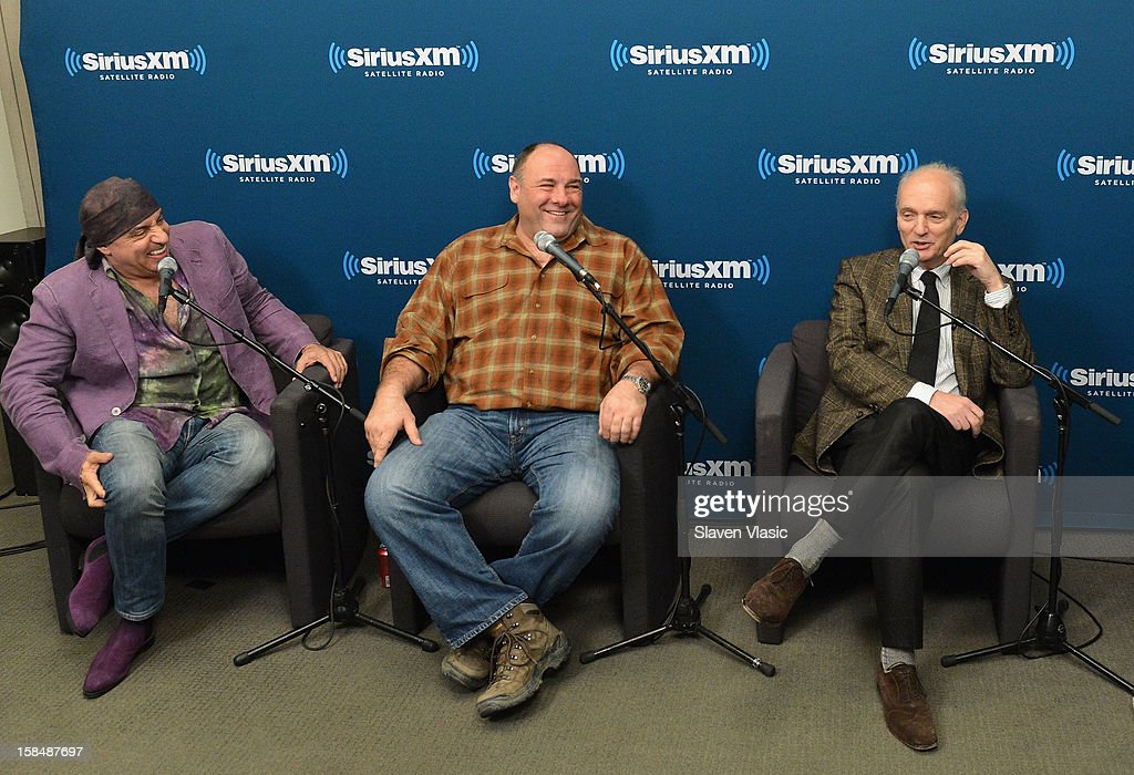 Steven Van Zandt, James Gandolfini and David Chase attend SiriusXM 'Not Fade Away' Town Hall with David Chase, James Gandolfini and Steven Van Zandt and host Terence Winter on December 17, 2012 in New York, United States.