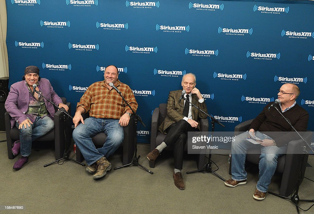 Steven Van Zandt, James Gandolfini, David Chase and host Terence Winter attend SiriusXM 'Not Fade Away' Town Hall with David Chase, James Gandolfini and Steven Van Zandt and host Terence Winter on December 17, 2012 in New York, United States.