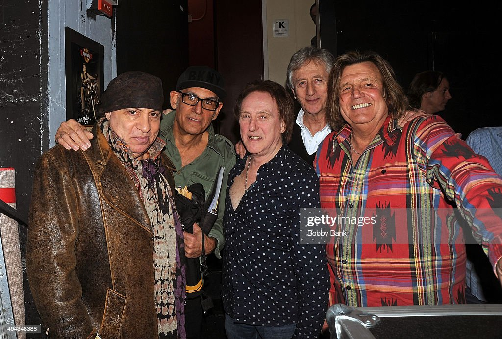 Steven Van Zandt, Liberty DeVitto, Denny Laine, Jeremy Clyde and Billy J. Kramer backstage at the Cousin Brucie Presents: The British Invasion at Hard Rock Cafe New York on February 24, 2015 in New York City.