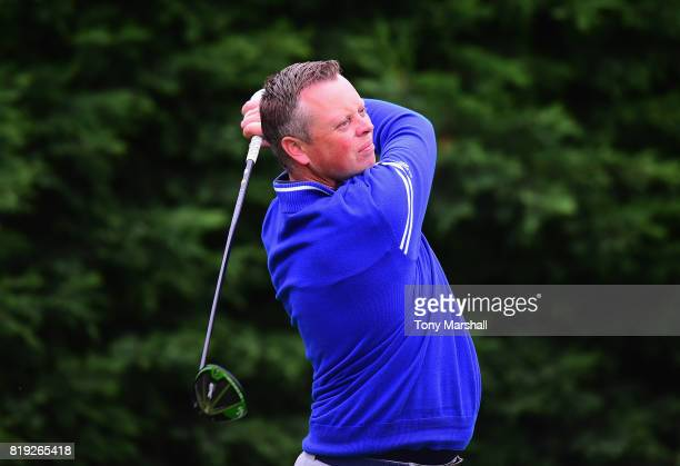 Steven Vinnicombe of Bedford County Golf Club plays his first shot on the 1st tee during the PGA Lombard Trophy East Qualifier at Sandy Lodge Golf...