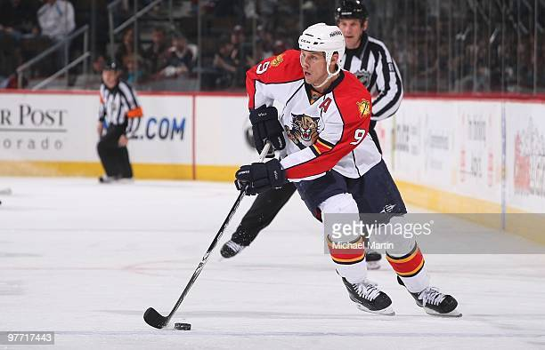 Steven Weiss of the Florida Panthers skates against the Colorado Avalanche at the Pepsi Center on March 11 2010 in Denver Colorado The Avalanche...
