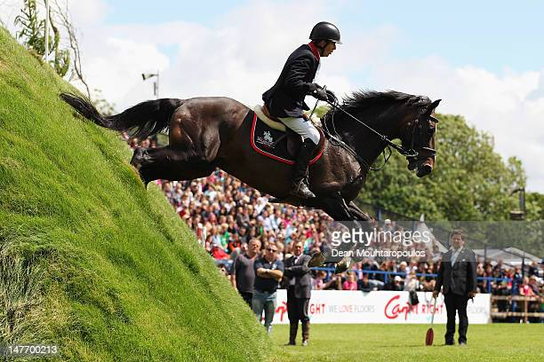 Steven Whitaker of Great Britain riding Locarno 62 HOLST compete in The Carpetright Derby during the British Jumping Hickstead Derby Meeting on June...