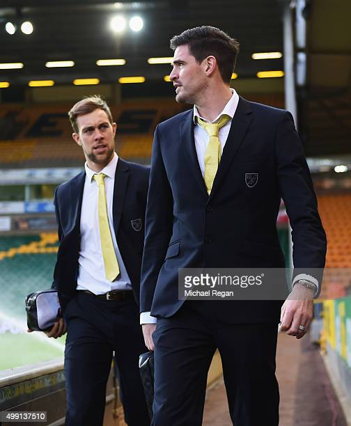 Steven Whittaker and Kyle Lafferty of Norwich City arrive prior to the Barclays Premier League match between Norwich City and Arsenal at Carrow Road...