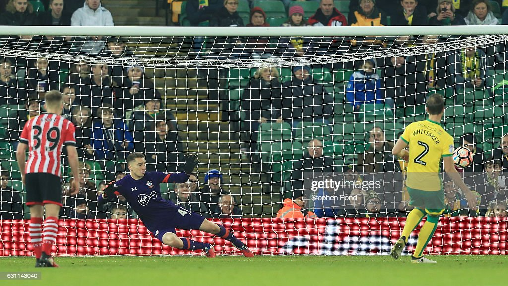 Steven Whittaker of Norwich City scores his sides first goal from the penalty spot during the Emirates FA Cup Third Round match between Norwich City and Southampton at Carrow Road on January 7, 2017 in Norwich, England.