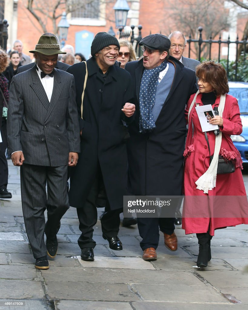 Steven Woodcock, Paul Barber, John Challis and Sue Holderness attend the funeral of Roger Lloyd-Pack at St Paul's Church in Covent Garden on February 13, 2014 in London, England.