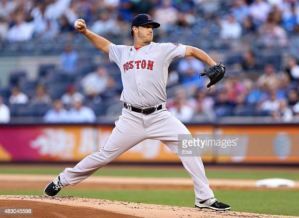 Steven Wright of the Boston Red Sox delivers a pitch in the first inning against the New York Yankees on August 5 2015 at Yankee Stadium in the Bronx...