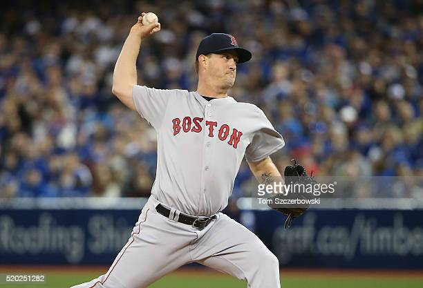 Steven Wright of the Boston Red Sox delivers a pitch in the first inning during MLB game action against the Toronto Blue Jays on April 10 2016 at...
