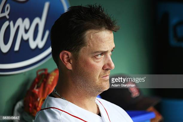 Steven Wright of the Boston Red Sox looks on from the dugout in the second inning during the game against the Detroit Tigers at Fenway Park on July...