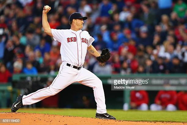 Steven Wright of the Boston Red Sox pitches against the Atlanta Braves during the second inning on April 27 2016 in Boston Massachusetts
