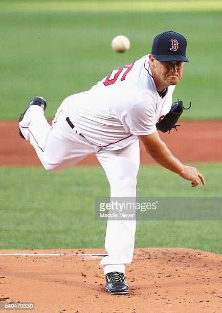 Steven Wright of the Boston Red Sox pitches against the Baltimore Orioles during the first inning at Fenway Park on June 15 2016 in Boston...